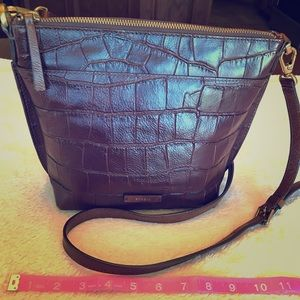 Fossil leather (croco style) bucket shoulder bag